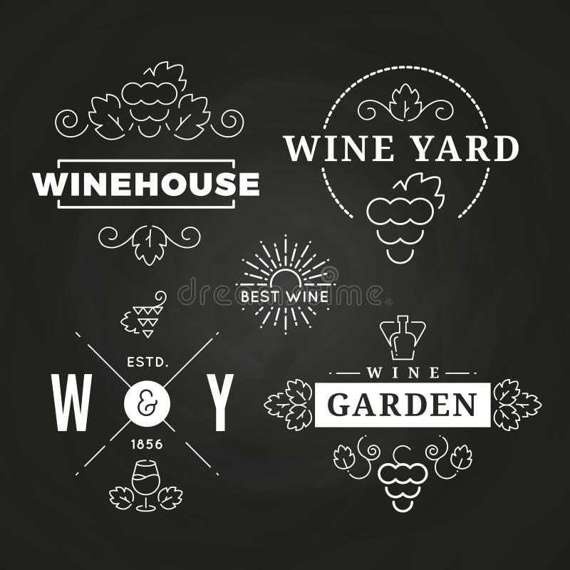 Modnisia wina logo lub baners projekt na chalkboard ilustracji