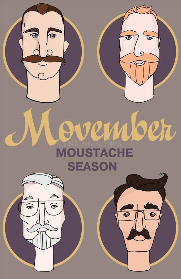 Modnisia zakładu fryzjerskiego kreskówki ludzie z broda wąsami i różnorodnymi eleganckimi ostrzyżeniami Movember royalty ilustracja
