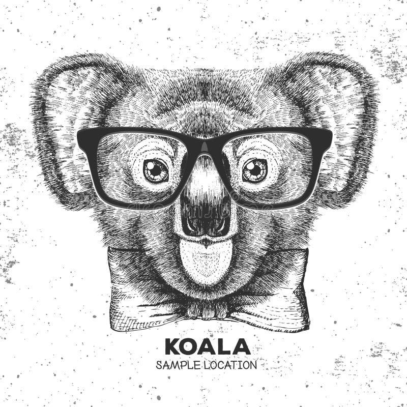 Modnisia zwierzęcia koala Ręka rysunkowy kaganiec koala royalty ilustracja