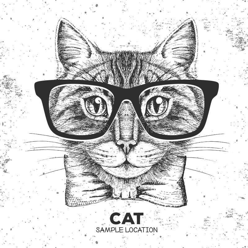 Modnisia zwierzęcia kot Ręka rysunkowy kaganiec zwierzęcy kot ilustracji