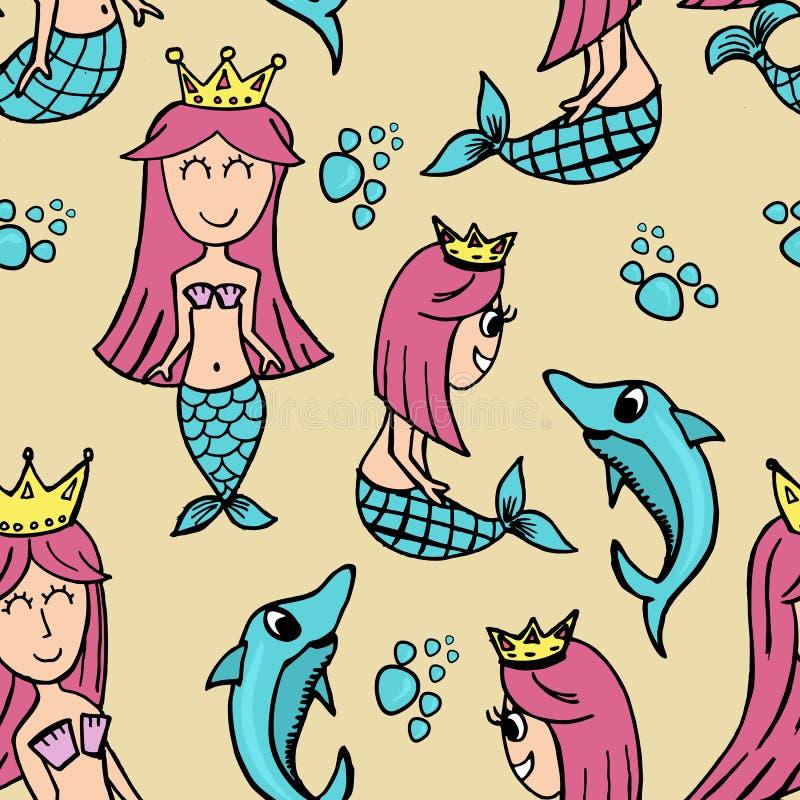 Modny śliczny syrenki i delfinu bezszwowy deseniowy tło ilustracja wektor