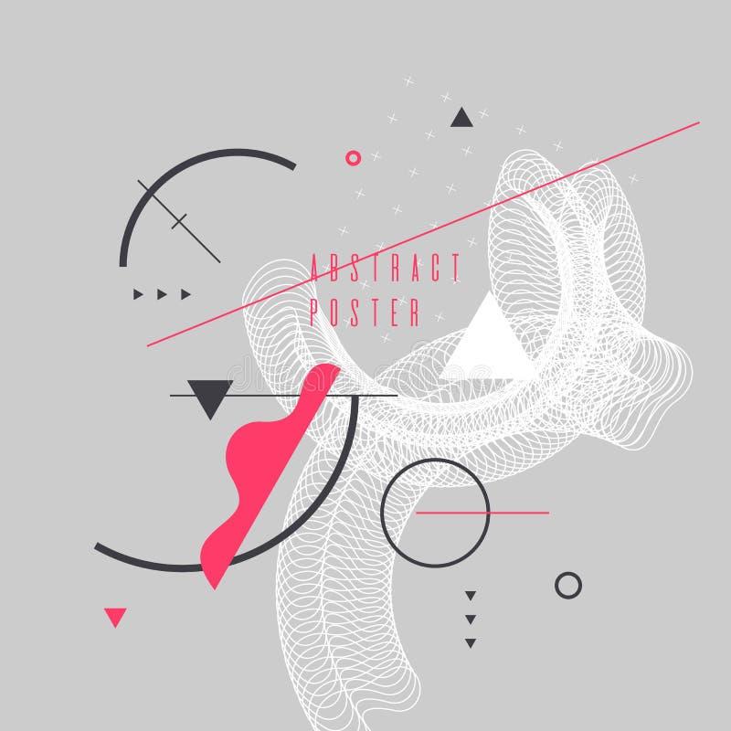 Modny abstrakcjonistycznej sztuki geometryczny tło z mieszkaniem, minimalistic Memphis styl Wektorowy plakat ilustracja wektor