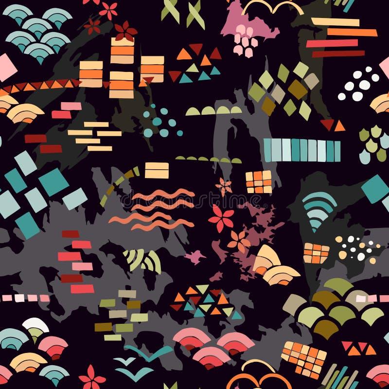 Modny abstrakcjonistyczny druk Jaskrawy bezszwowy wzór z różnymi kolorowymi kształtami na czarnym tle royalty ilustracja