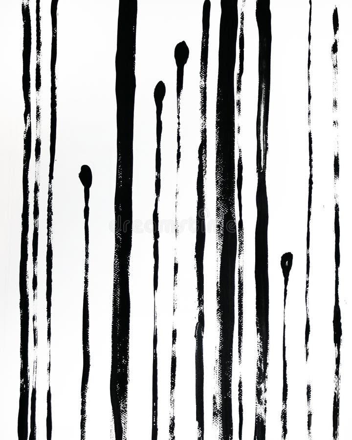 Modny Abstrakcjonistyczny Wewnętrzny plakat Czarnej r?ki rysuj?ca ilustracja Lampasy na bia?ym tle ilustracja wektor
