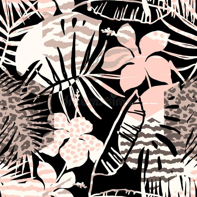 Modny bezszwowy egzota wzór z palmą, zwierzę drukami i ręki rysować teksturami, royalty ilustracja