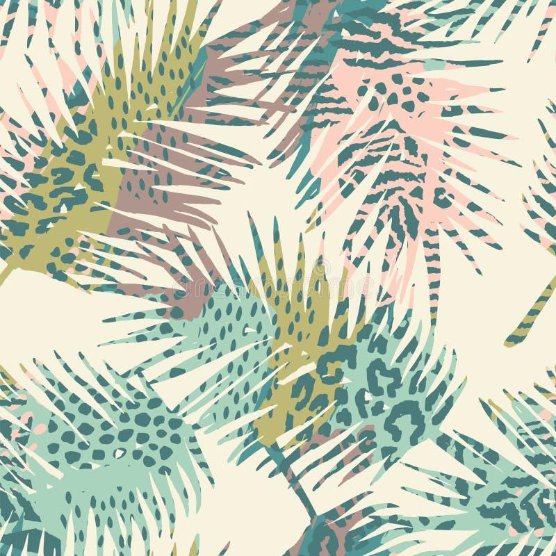 Modny bezszwowy egzota wzór z palmowymi i zwierzęcymi prins royalty ilustracja