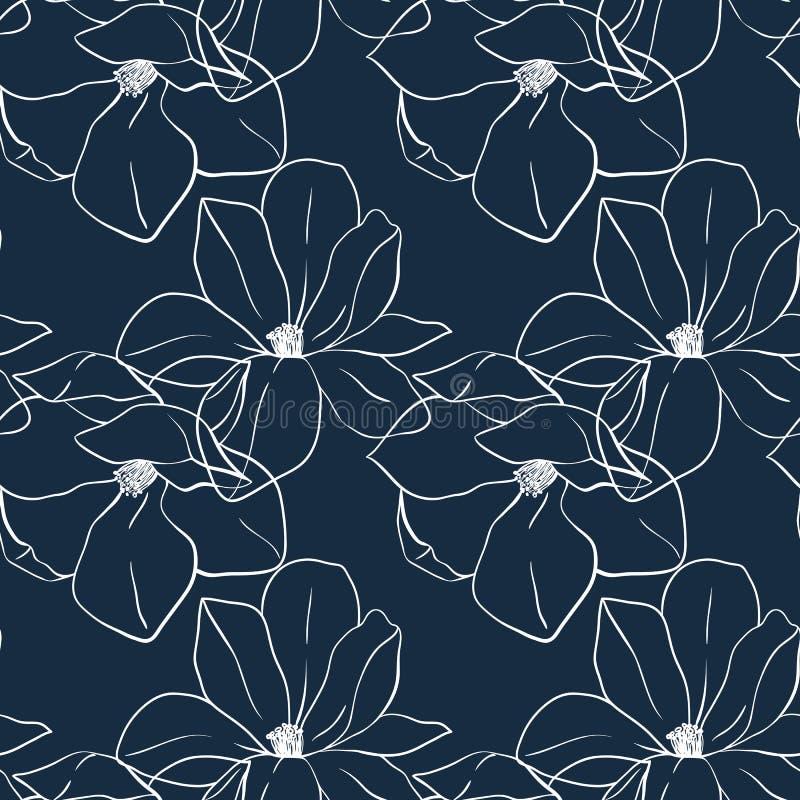 Modny bezszwowy kwiecisty druk z magnolią kwitnie na głębokim błękitnym kolorze Wektorowa ręka rysująca ilustracja dla druku, tka ilustracji