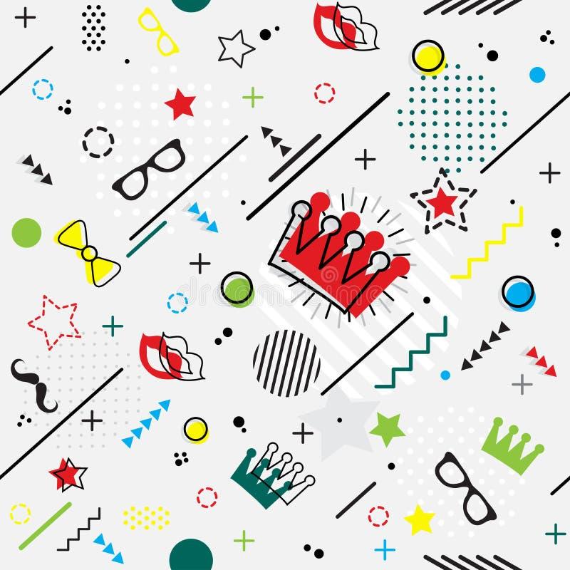 Modny bezszwowy, Memphis Purim stylowy geometryczny wzór, wektor ja royalty ilustracja