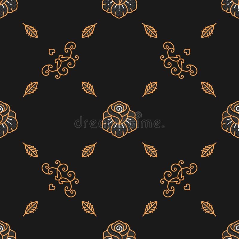 Modny bezszwowy wzór, minimalny kwiecisty ornament, Skandynawski art deco styl ilustracja wektor