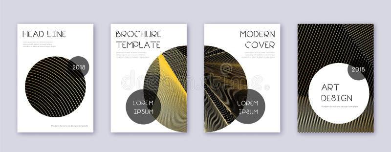 Modny broszurka projekta szablonu set Złocisty abstrakt ilustracji