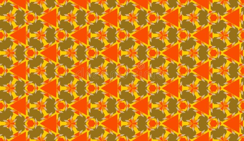 Modny dekoracyjny bezszwowy geometryczny wzór z różnorodnymi kształtami pomarańcze, koloru żółtego i oliwki cienie, ilustracji