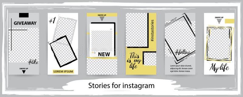 Modny editable szablon dla ogólnospołecznych sieci opowieści, wektor il royalty ilustracja