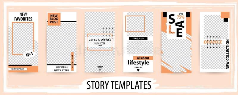 Modny editable szablon dla ogólnospołecznych sieci opowieści, wektorowa bolączka royalty ilustracja