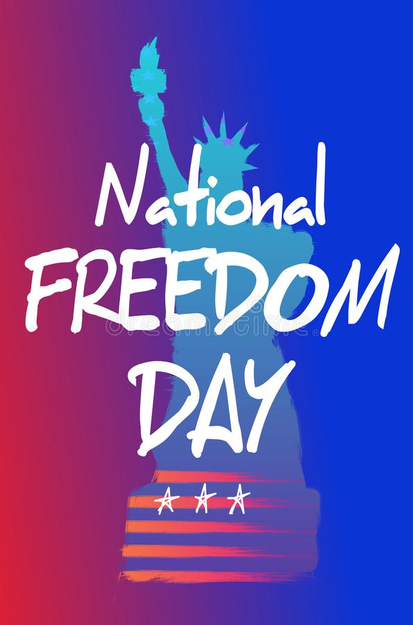 Modny gradientowy plakat lub sztandar Krajowy wolność dzień - Luty Najpierw ilustracja wektor
