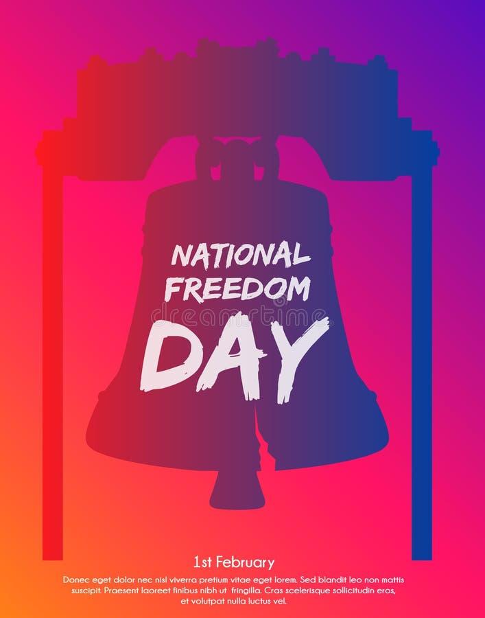 Modny gradientowy plakat lub sztandar Krajowy wolność dzień - Luty Pierwszy Liberty Bell jako tło ilustracja wektor
