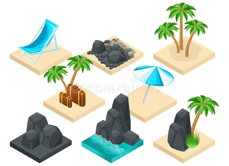 Modny isometrics ustawiający lato ikony dla tworzyć twój swój wektorową ilustrację 3D kamienie, drzewka palmowe, morze, walizka ilustracja wektor