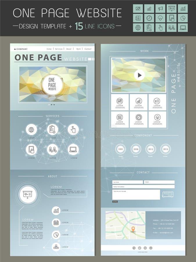 Modny jeden strony strony internetowej szablonu projekt ilustracja wektor