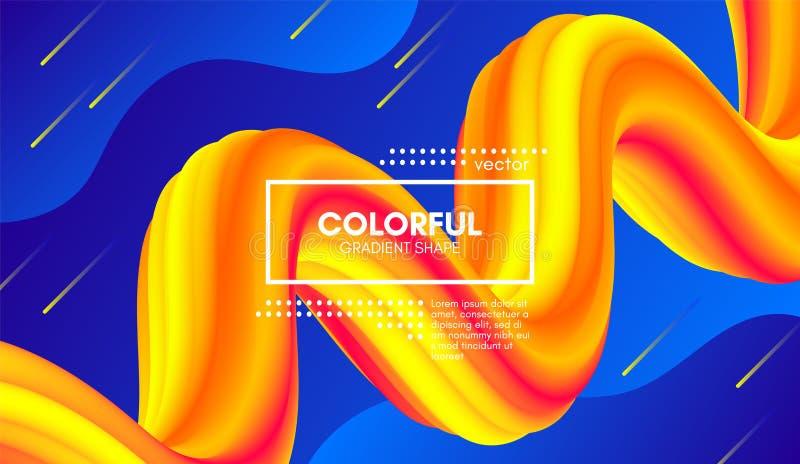 Modny koloru 3d tło Falowy Rzadkopłynny kształt royalty ilustracja