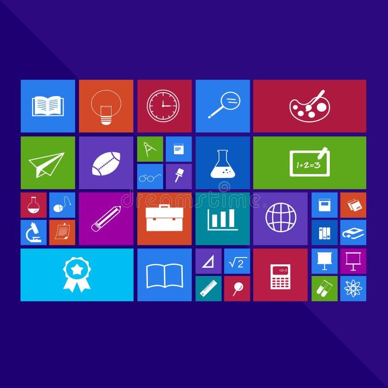 Modny komputeru lub wiszącej ozdoby zastosowania app program płaski educat ilustracja wektor