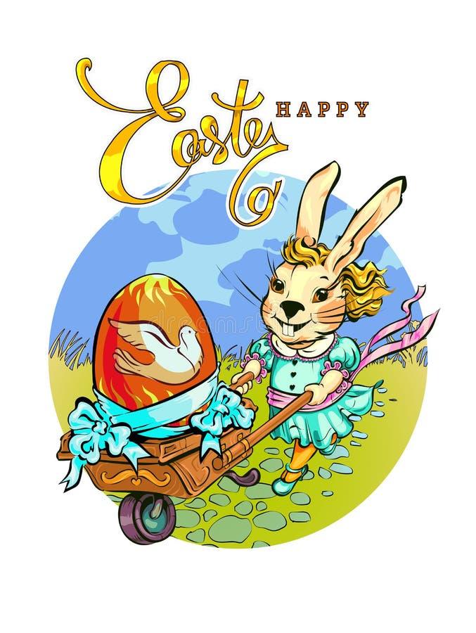 Modny królik stacza się rocznik furę zdjęcie royalty free
