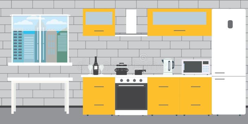 Modny kuchenny wnętrze na ściany z cegieł tle, okno a royalty ilustracja