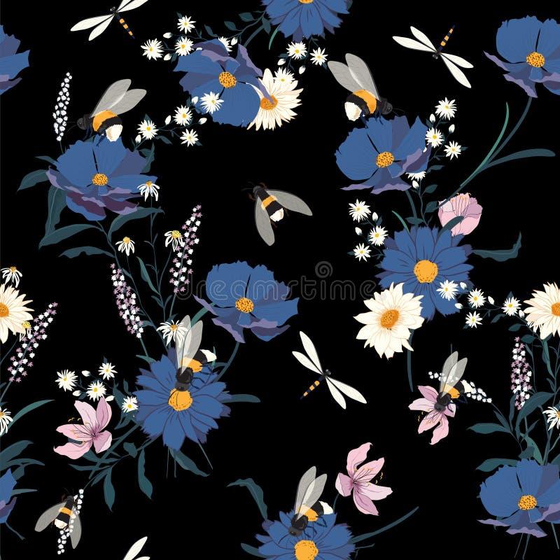 Modny Kwiecisty wzór w dużo jakby kwitnie i pszczoły royalty ilustracja