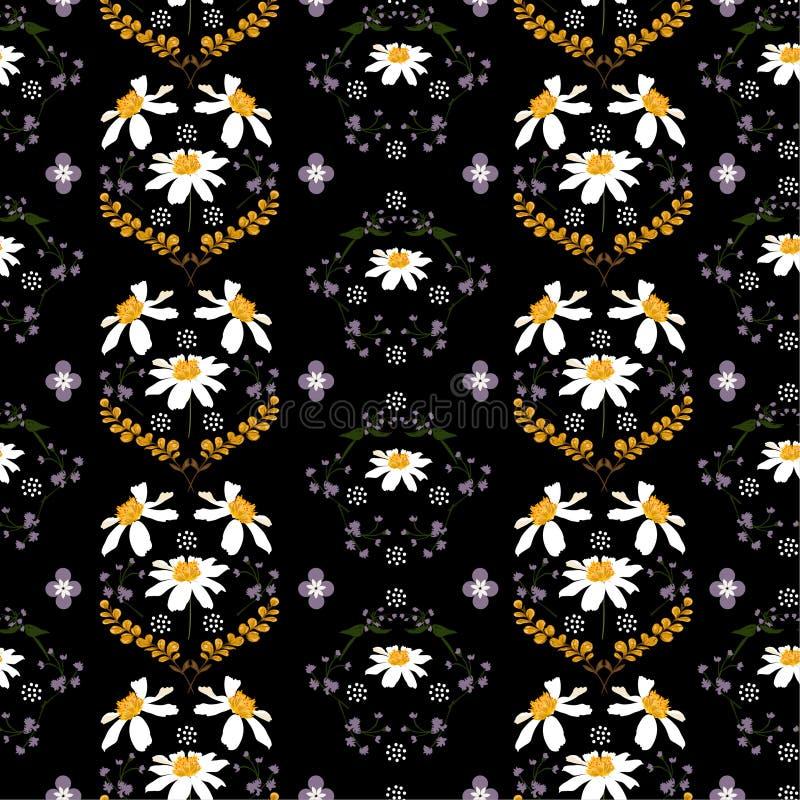 Modny kwitnący stokrotka kwiat i dziki kwiecisty bezszwowy wzór w wektorowym miarowym powtórka projekcie dla mody, tkanina, wallp ilustracji