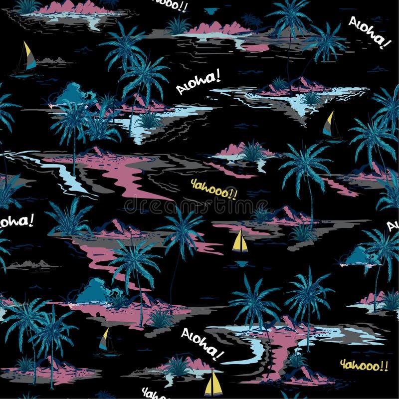 Modny lato nocy wyspy Piękny bezszwowy wzór na bielu ilustracja wektor