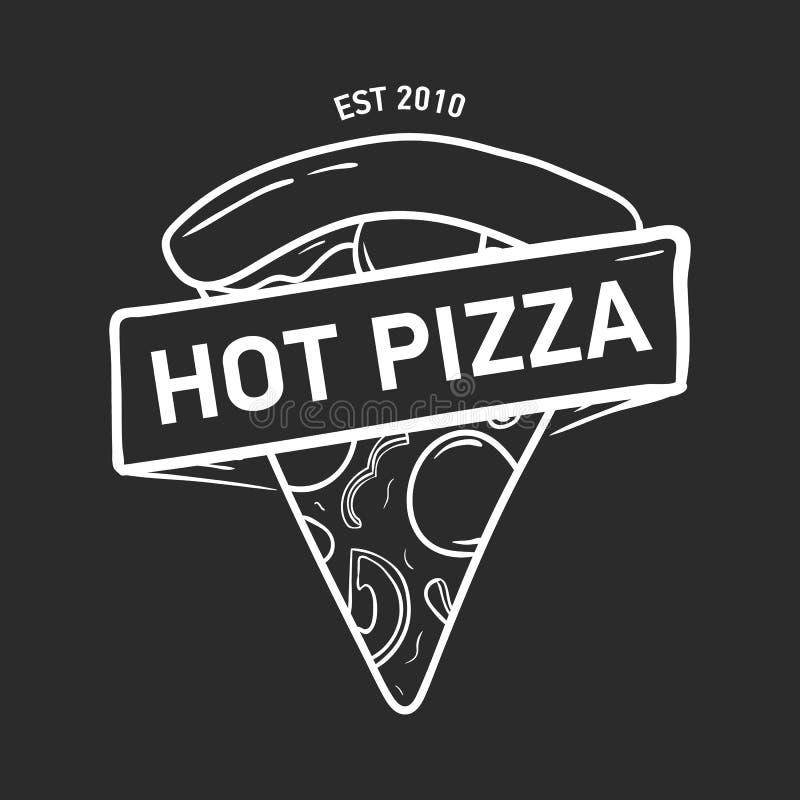 Modny logo z pizza plasterkiem i ręka rysująca z konturowymi liniami na czarnym tle faborku, taśmy lub paska, monochrom royalty ilustracja