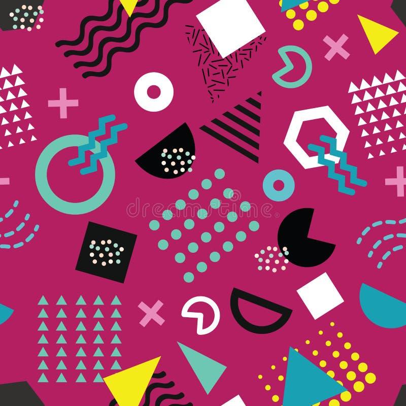 Modny Memphis stylowy bezszwowy wzór z figlarnie geometrycznymi kształtami na purpurowym tle ilustracja wektor