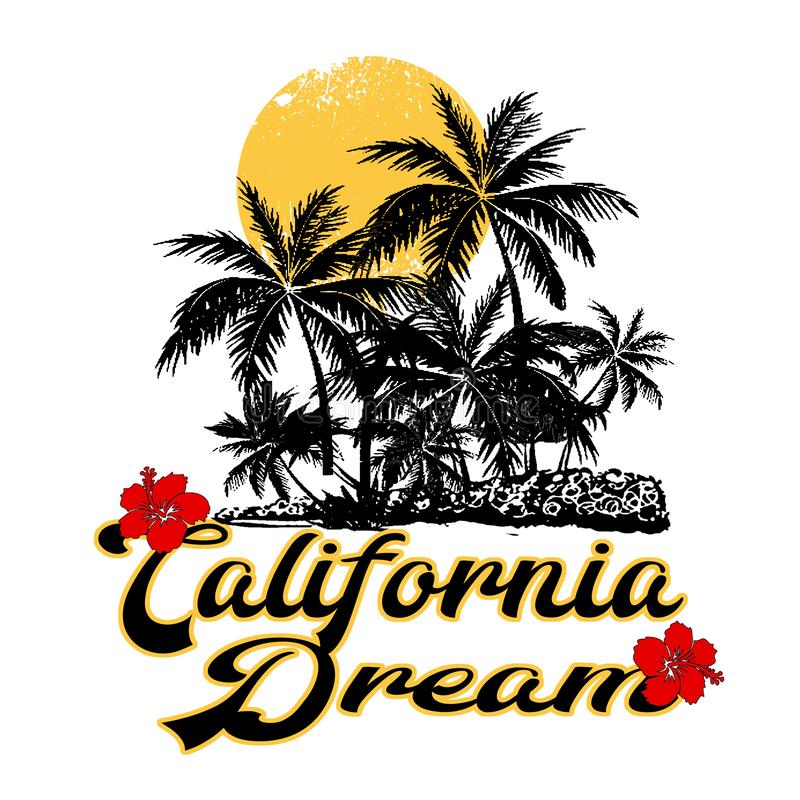Modny mody koszulki druk dla tekstylnego California sen teksta projekta wzoru ilustracji