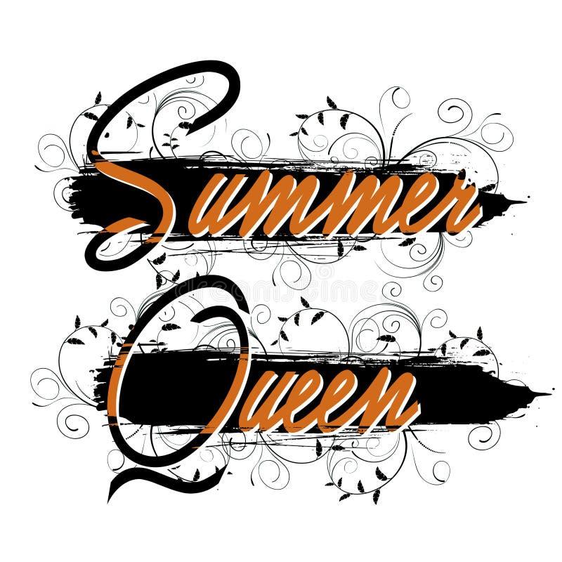 Modny mody koszulki druk dla tekstylnego lato królowej teksta projekta wzoru bielu ilustracji