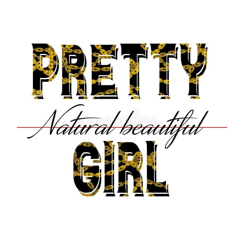 Modny mody koszulki druk dla tekstylnej ładnej dziewczyny projekta naturalnego pięknego wzoru ilustracja wektor