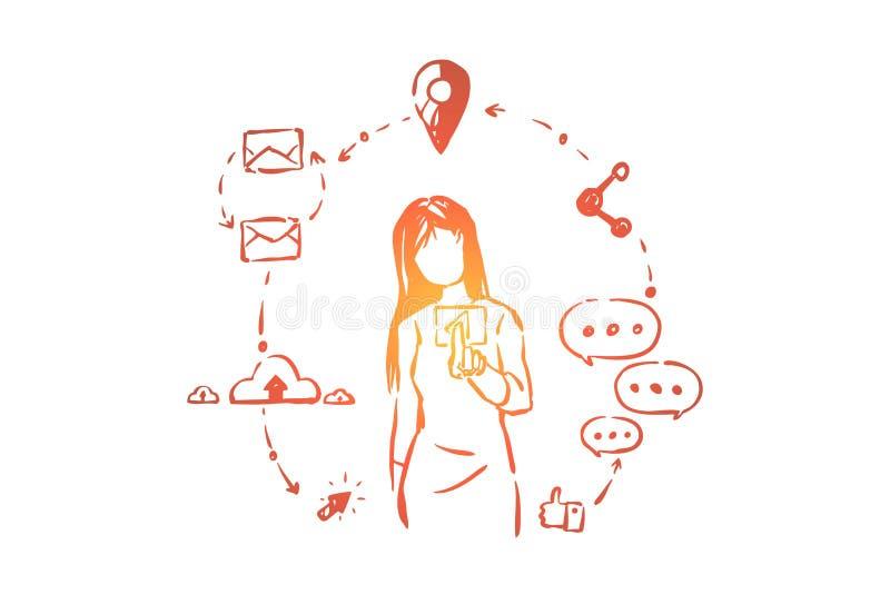Modny nowożytny odtwarzanie, interneta surfing, młoda kobieta z online sieć symbolami, lubi i komentuje ilustracji