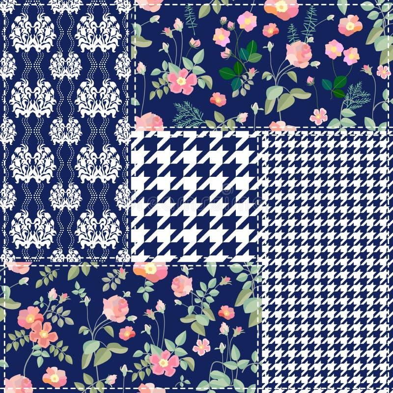 Modny patchworku projekt ilustracja wektor