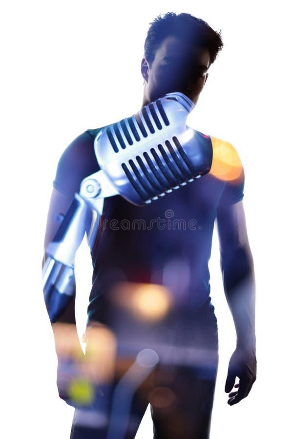 Modny piosenkarz w sylwetce obraz royalty free