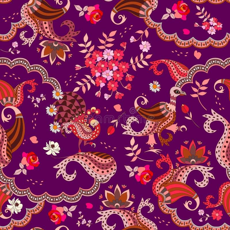 Modny projekt dla szalika Bezszwowy etniczny wzór z fantazja ptakami, bukiet kwiaty, liście i Paisley, wektor ilustracji