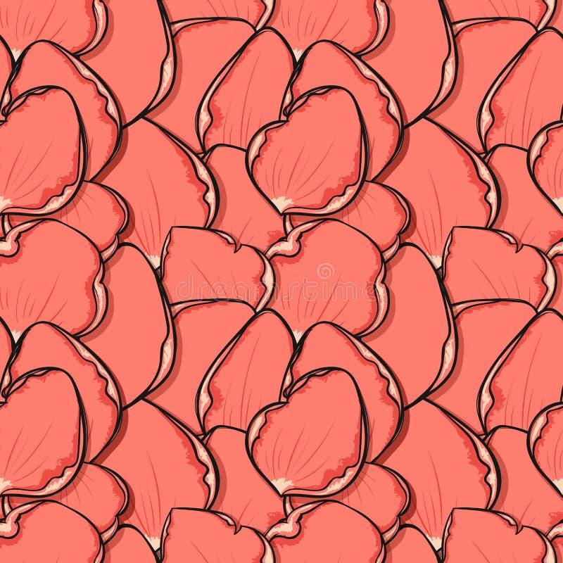 Modny projekta tło z menchii róży płatkami w nakreślenie stylu ilustracji