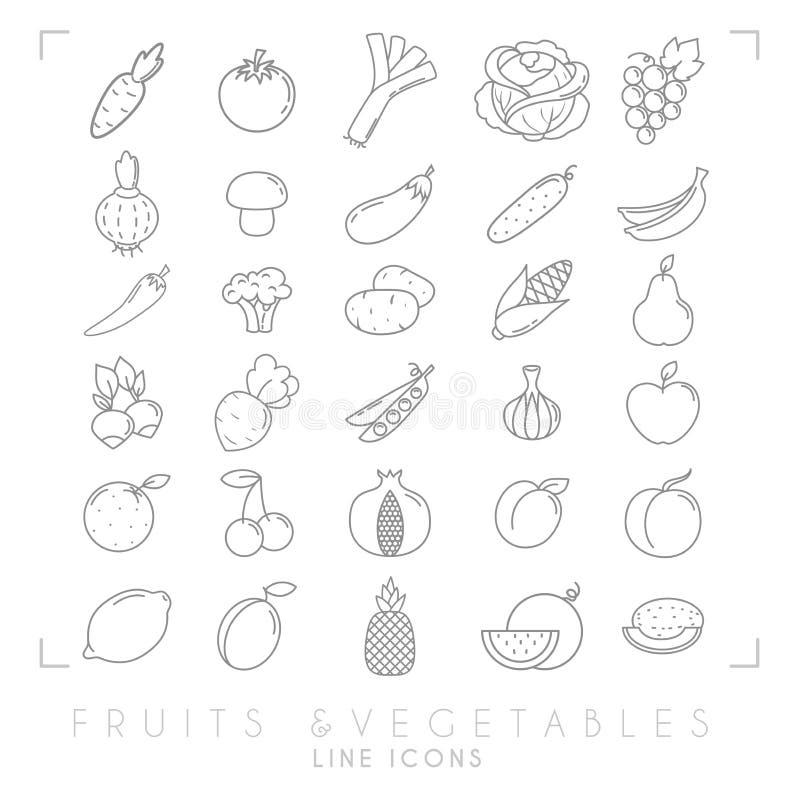 Modny prosty cienieje kreskowych owoc i warzywo ikon dużego set royalty ilustracja