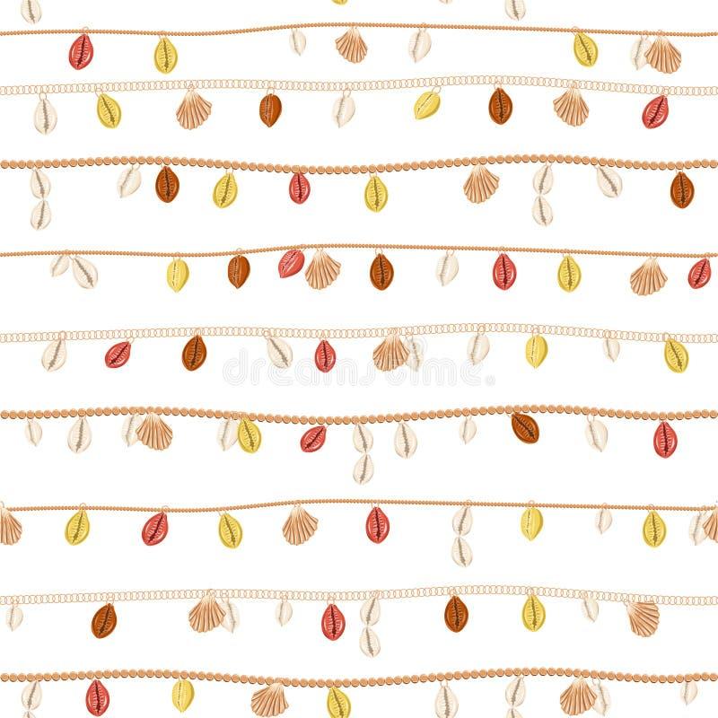 Modny retro kolia z złoto łańcuchem i perła, lato skorupa, biżuterii dekoracji bezszwowy wzór w wektorowym horyzontalnym lampasie ilustracji