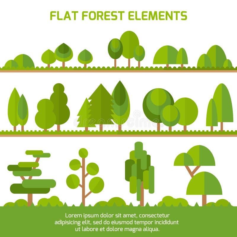 Modny set różni drzewa, krzaki, trawa i inni naturalni przedmioty, royalty ilustracja