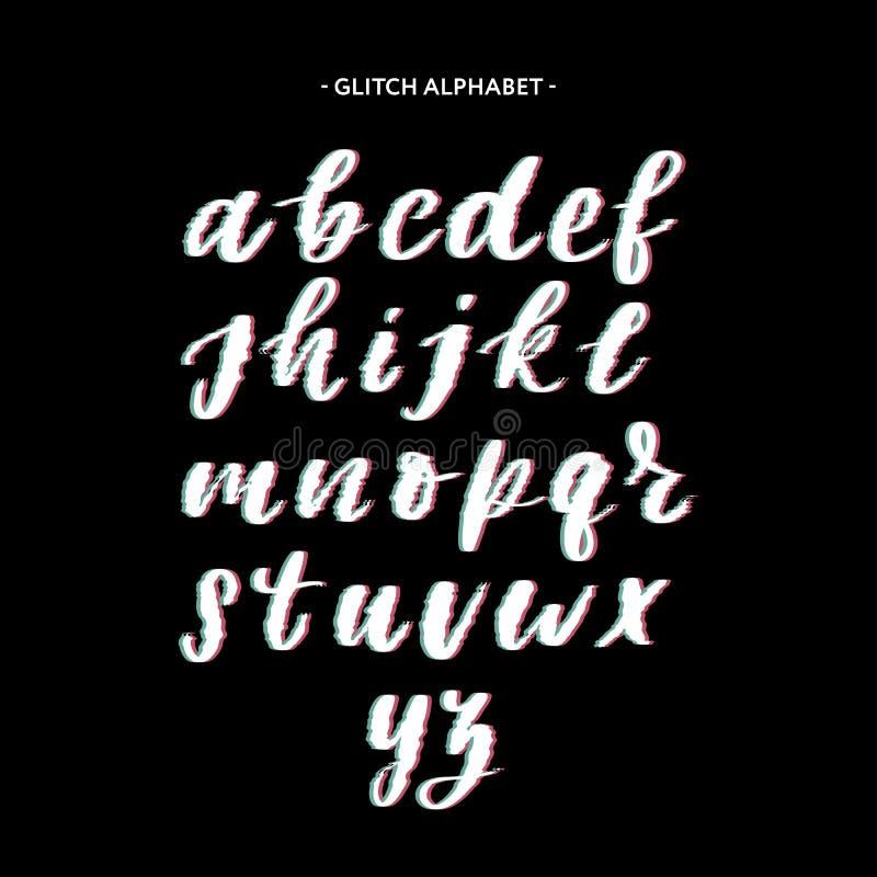 Modny styl zniekszta?caj?cy usterki typeface Listy i liczby, wektor ilustracji