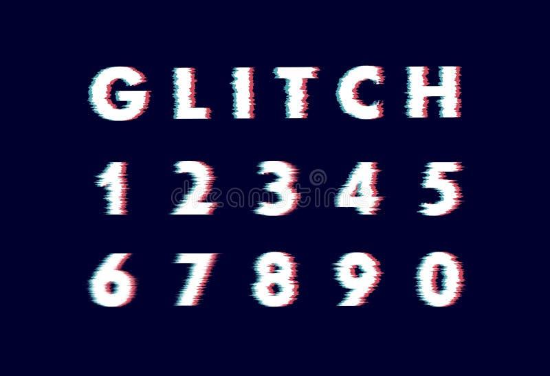 Modny styl zniekszta?caj?cy usterki typeface Listy i liczby wektorowy ilustracyjny abecad?o ilustracja wektor