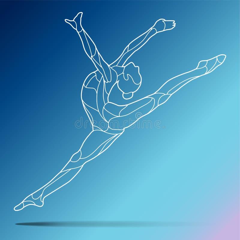 Modny stylizowany ilustracyjny ruch, kędzierzawe gimnastyki, akrobacje, kreskowej sztuki wektorowa sylwetka, odizolowywająca na g royalty ilustracja