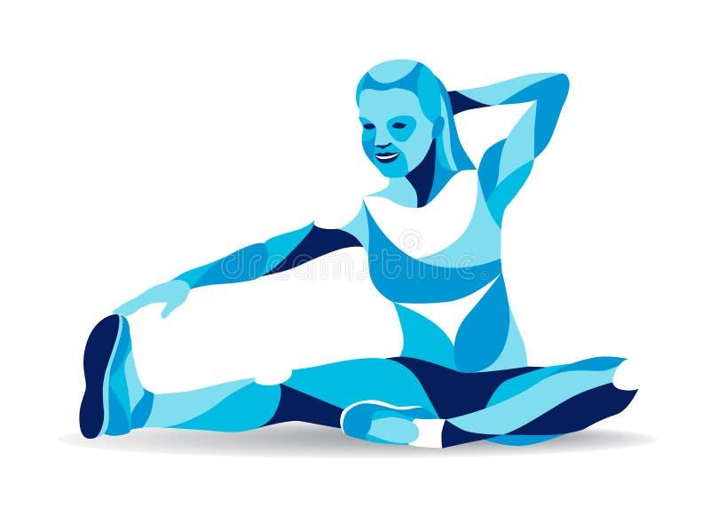 Modny stylizowany ilustracyjny ruch, sprawności fizycznej kobiety rozciągania noga, kreskowa wektorowa sylwetka ilustracji