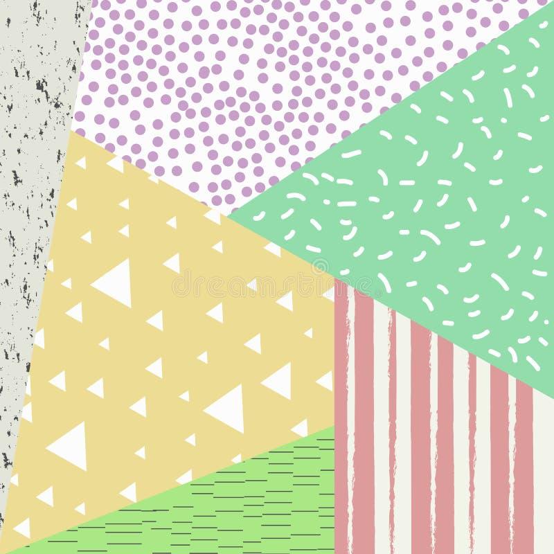 Modny stylowy tło z retro stylowymi tekstury, deseniowych i geometrycznych elementami, ilustracji