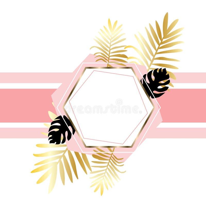 Modny tło z tropikalną liść palmą, monstera rośliną i geometrycznymi kształtami różnorodna tekstura, Elegancki tło dekorujący ilustracja wektor