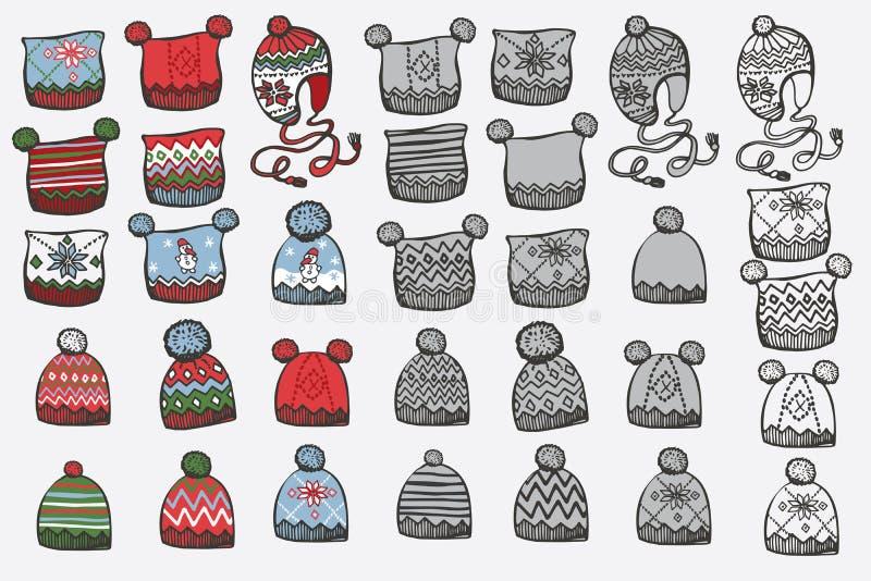 Modny trykotowy kapelusz Doodle ręki nakreślenie ilustracja wektor