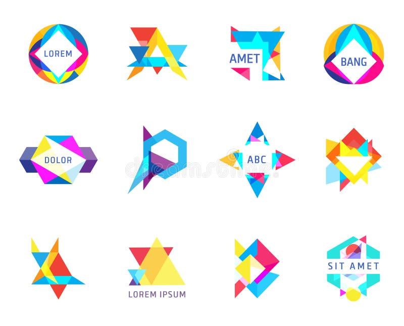 Modnych logo geometryczna nieprzezroczysto?? kszta?tuje wektoru set obrazy royalty free