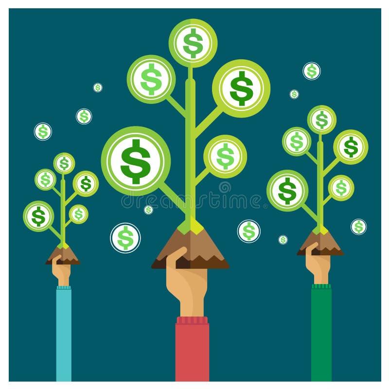 Modo cada vez mayor de la inversión de la renta del crecimiento de las ganancias del árbol determinado del dinero del vector ilustración del vector